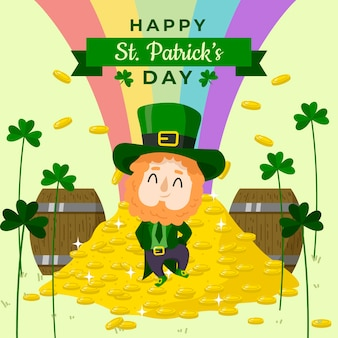 St. patrick's day hand drawn end of rainbow and coins