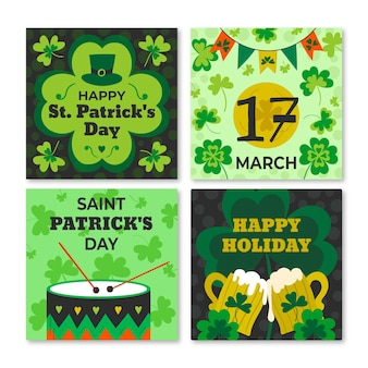 St. patrick's day hand drawn instagram posts