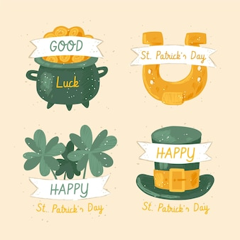 St. patrick's day hand drawn label set
