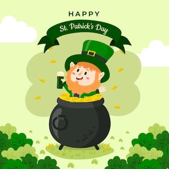 St. patrick's day hand drawnleprechaun in cauldron with coins