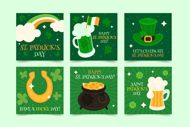 St. patrick's day hand drawn social media stories