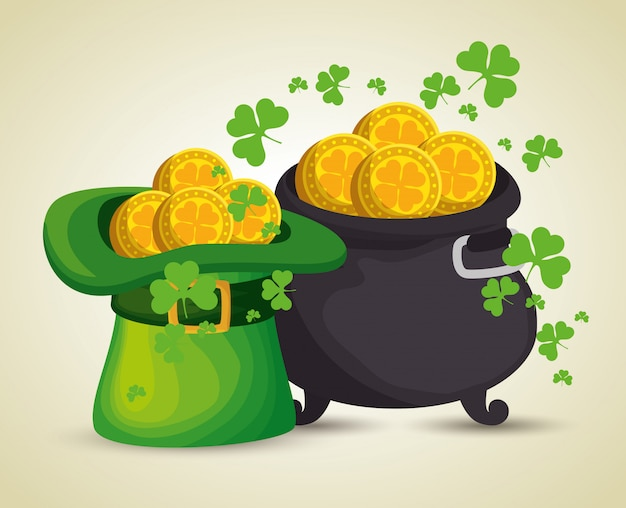 St patrick's day hat and cauldron with gold coins