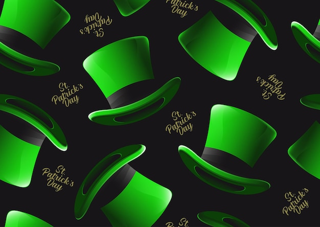 St. patrick's day hat seamless pattern, character design for banner or webside, illustration celebration party poster design on green background.