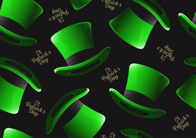 聖パトリックの日の帽子のシームレスなパターン、バナーやウェブサイドのキャラクターデザイン、緑の背景にイラストのお祝いパーティーのポスターデザイン。