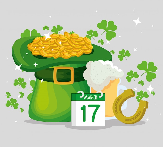 St patrick's day hat with gold coins and horseshoe