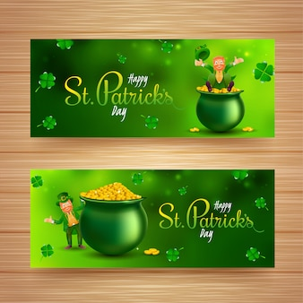 St. patrick's day header or banner design set with leprechaun character, coins pot and shamrock leaves