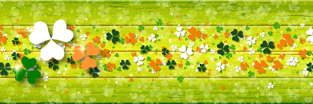 St.patrick's day horizontal wooden vector banner with colorful clover leaves