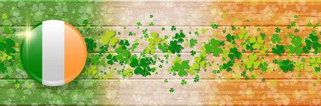 St.patrick's day horizontal wooden vector banner