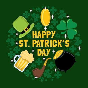 St. patrick's day icon poster and greeting card