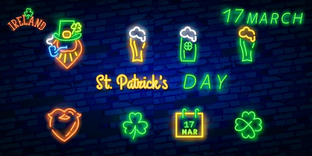 St. patrick's day icon set isolated.
