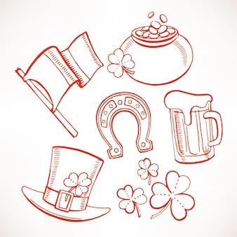 Набор иконок день святого патрика. горшок с золотом, стаканы пива, листья клевера