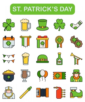 St. patrick's day icons set in lineal style