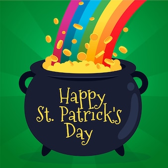 St. patrick's day illustration with cauldron of coins and rainbow