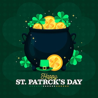 St. patrick's day illustration with cauldron and coins