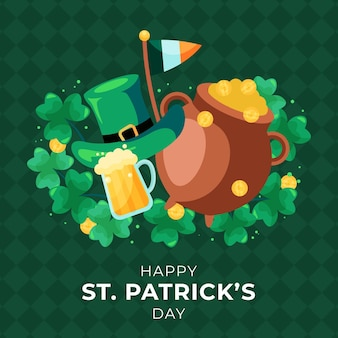 St. patrick's day illustration with hat and cauldron of coins