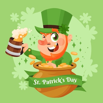 St. patrick's day illustration with leprechaun