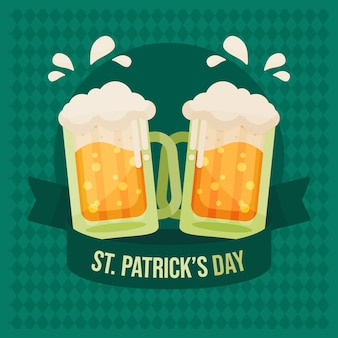 St. patrick's day illustration with pints of beer
