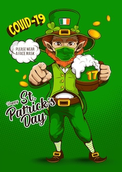 St. patrick's day invitation card. image of the leprechaun telling everyone to please wear a face mask during covid 19