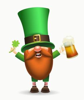 聖パトリックの日アイルランドのノームとクローバーとビール。