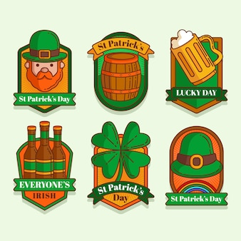 St. patrick's day label collection in flat design