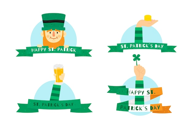 День святого патрика этикетки и значки с лентами