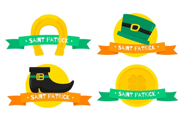 St. patrick's day labels and badges with golden coins