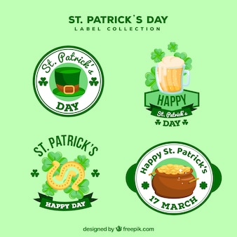 St. patrick's day labels collection in flat style