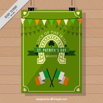 St patrick's day leaflet with flags and garlands