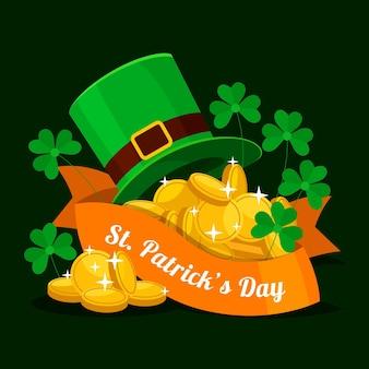 聖パトリックの日レプラコーンの帽子とコイン
