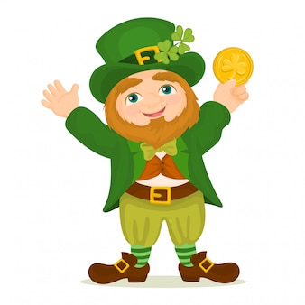 St. patrick's day. leprechaun holding a golden coin