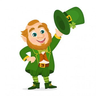 St.patrick 's day. leprechaun waving