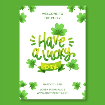 St. patrick's day lettering flyer template