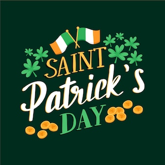 St. patrick's day lettering with flag of ireland