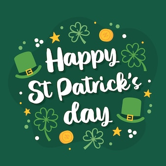 St. patrick's day lettering with little elements
