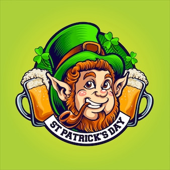 St patrick's day mascot character illustration