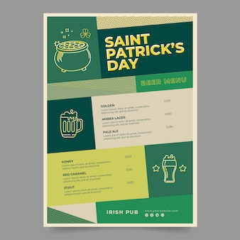 St. patrick's day menu template flat design