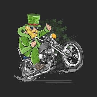 St. patrick's day motorcycle biker rider artwork