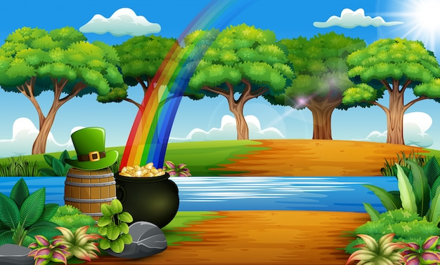 St patrick's day nature landscape with a pot of gold and rainbow