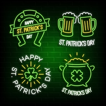 St patrick's day neon glowing labels.