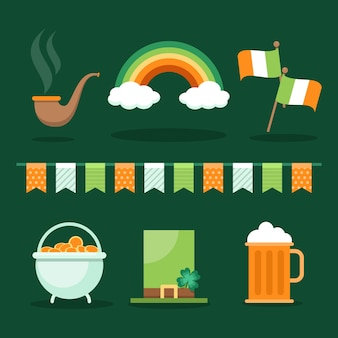 St. patrick's day objects and food collection