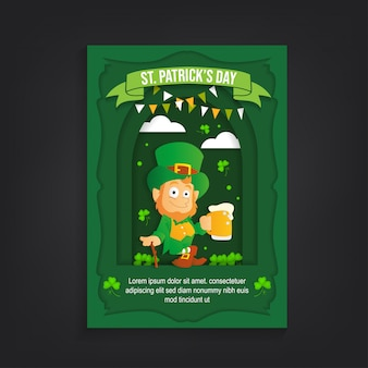 St patrick's day paper cut flyer template