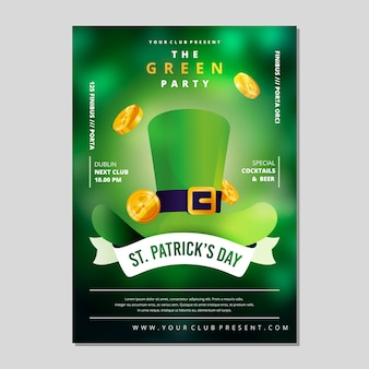 St. patrick's day party poster or flyer template blurred effect