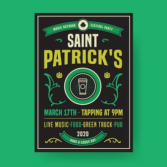 St. patrick's day party poster or flyer template flat design
