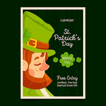 St. patrick's day party poster or flyer template portrait of leprechaun