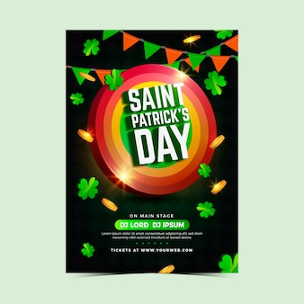 St. patrick's day party poster or flyer template realistic design