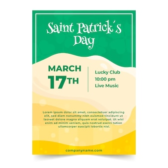 St. patrick's day party poster or flyer template with beer foam