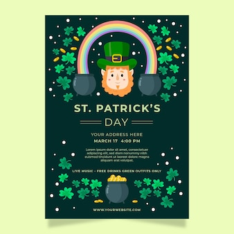 St. patrick's day party poster or flyer template with leprechaun and clovers