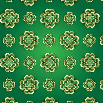 St. patrick's day pattern with 3d clover. vector illustration.