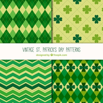 St patrick's day patterns in vintage style