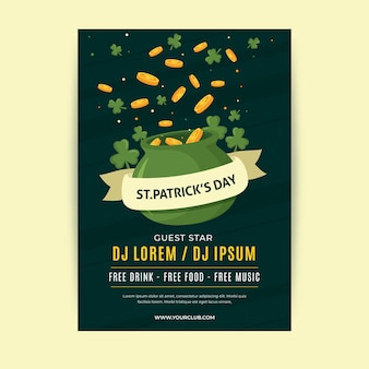 St. patrick's day poster template in flat design